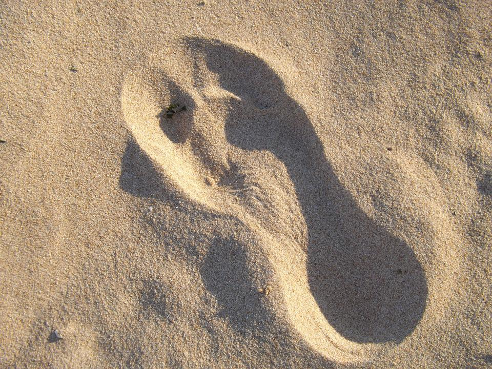 Footprint, Tracks, Sand, Foot, Prints, Sea, Beach