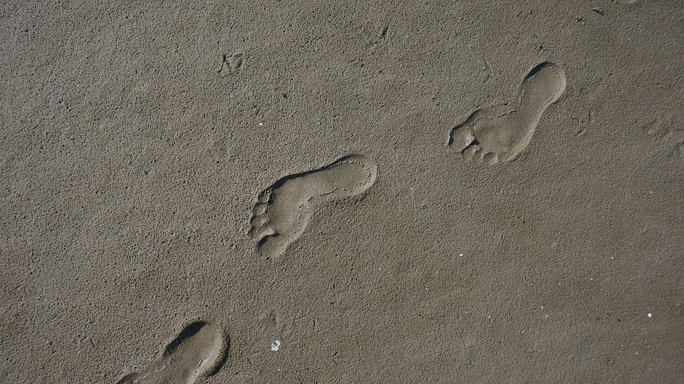 Footprint, Sand, Traces, Footprints, Transient