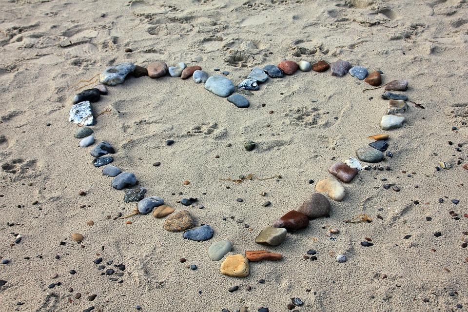 Beach, Sand, Stones, Heart, Love, Holiday