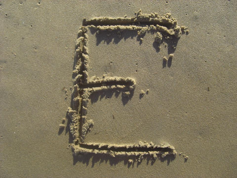 Letter E, Sand, Stick, Beach, Alphabet