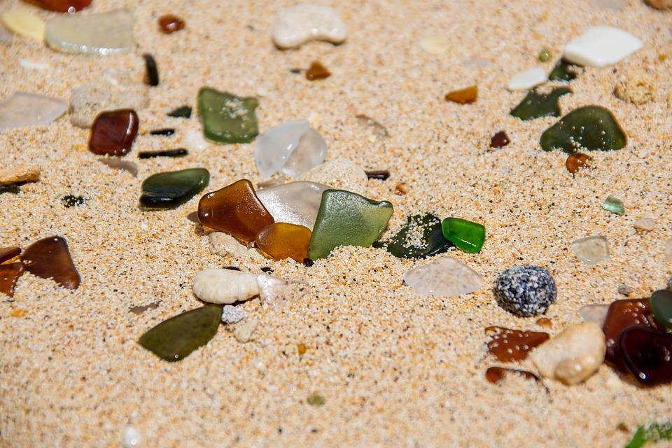 Beach, Sand, Glass, Sea, Colors, Refined, Nature