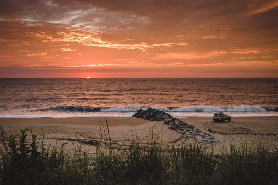 Beach, Car, Clouds, Grass, Horizon, Ocean, Sand, Sea
