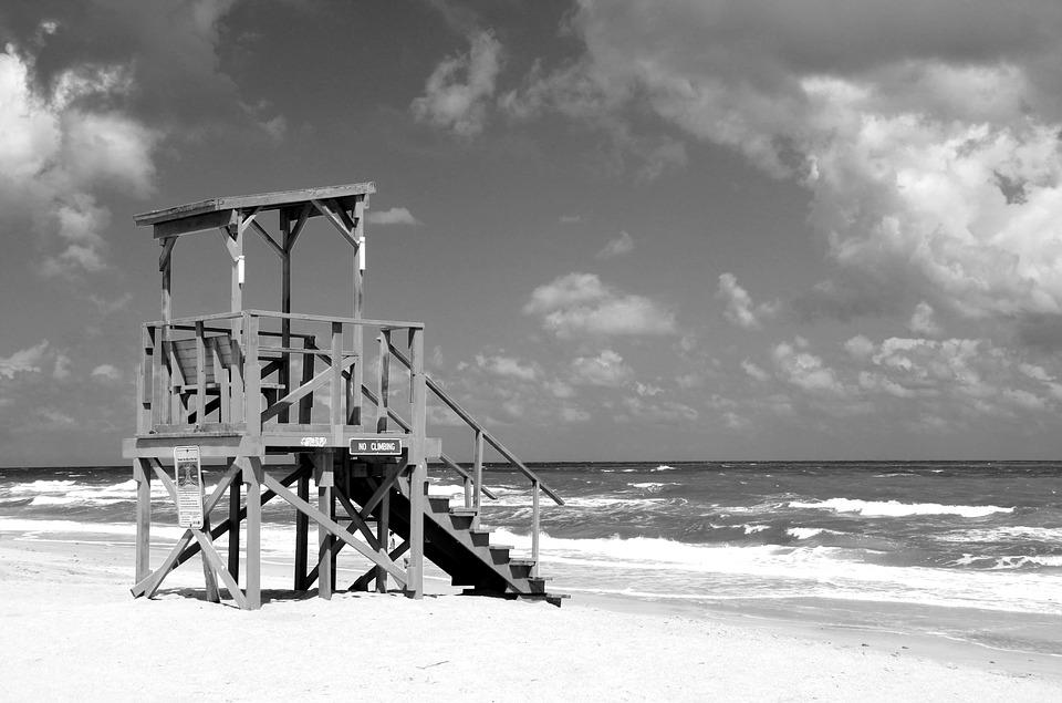 Empty Lifeguard Stand, Beach, Ocean, Sky, Sand, Water