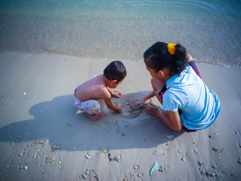 Young Children, Play, Sand, Beach