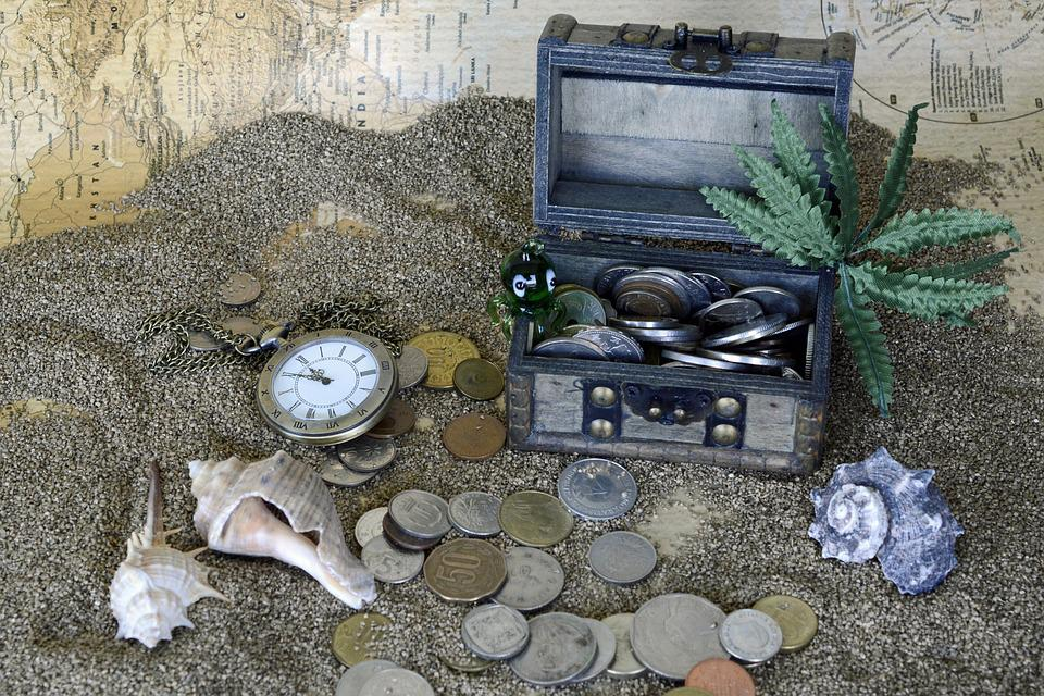 Treasure Chest, Sand, Pocket Watch, Squid, Palm