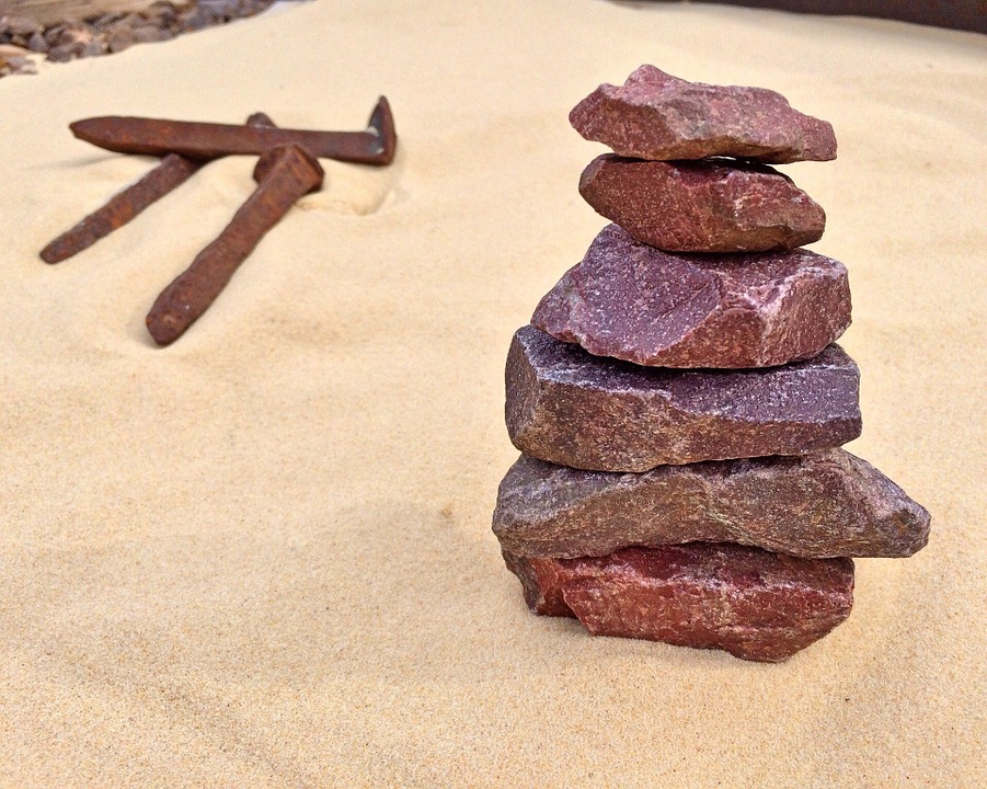Stacked Stones, Railroad, Sand, Track, Stack, Railway