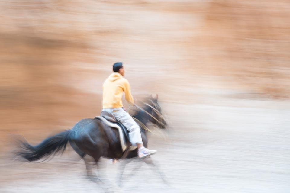 Morocco, Sahara, Horse, Rider, Speed, Hurry, Sand