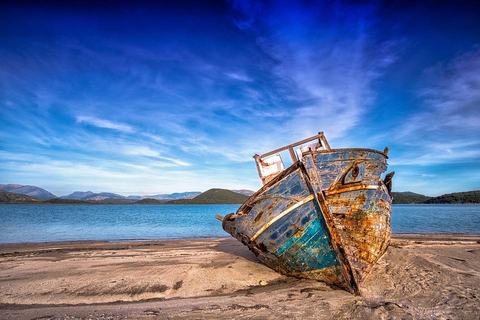 Boat, Sea, Sky, Landscape, Nature, Beach, Sand, Old