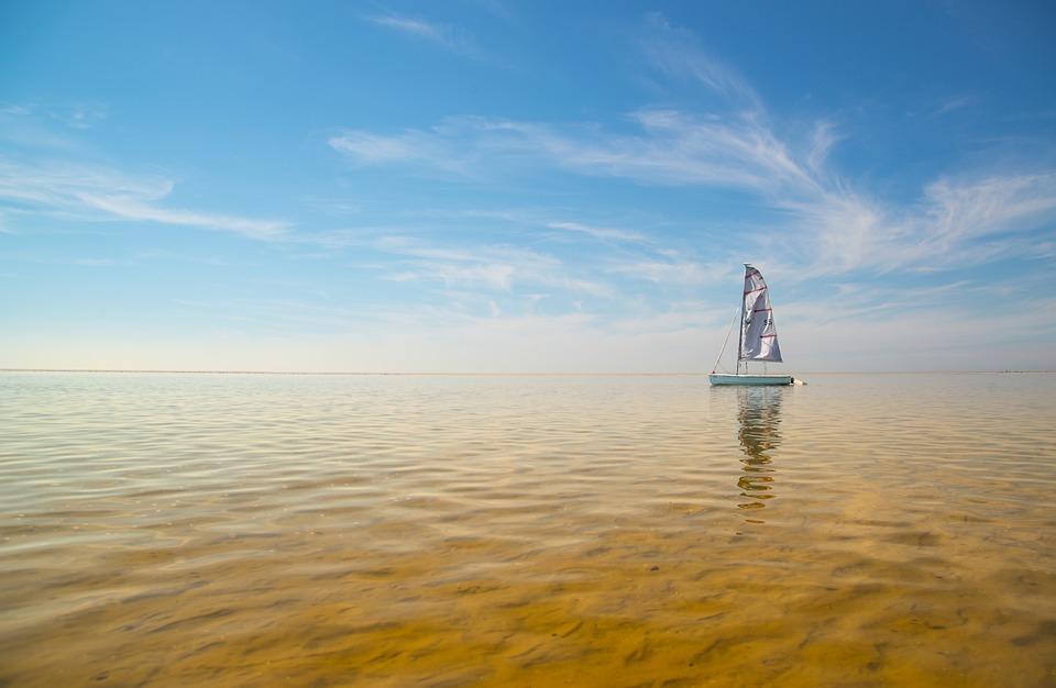 Sailing, Boat, Shore, Sky, Sand, Sea, Sail, Summer