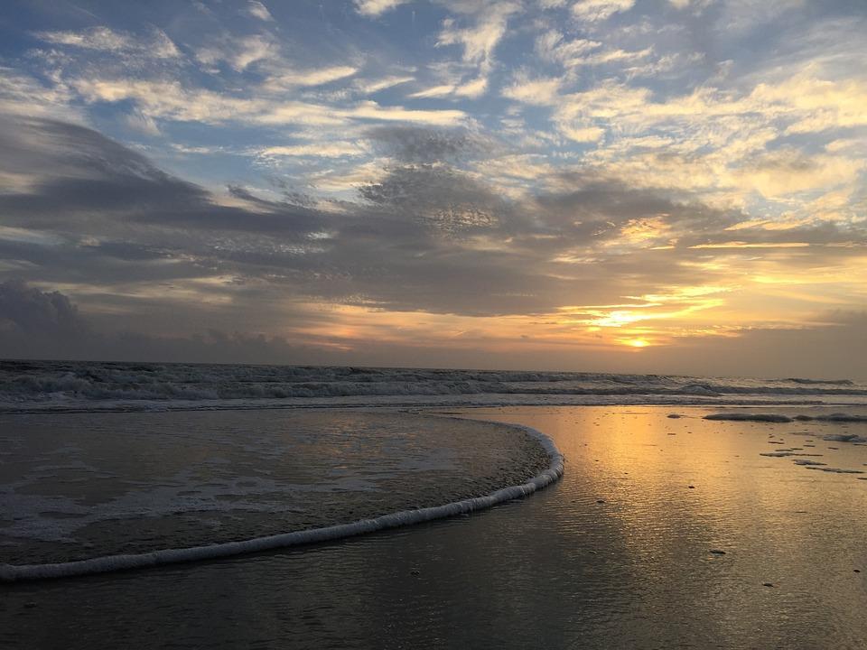 Sunset, Beach, Beach Sunset, Ocean, Sea, Sky, Sand