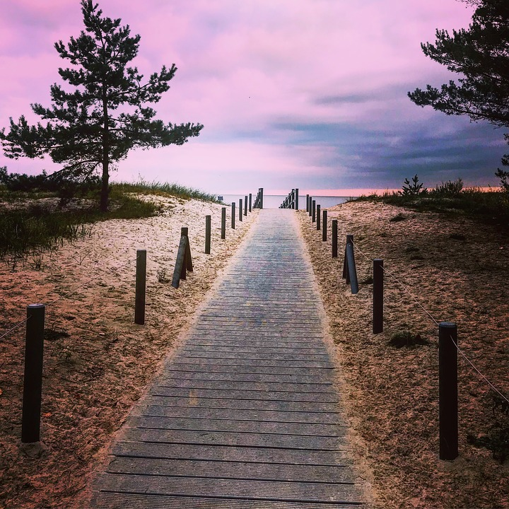 Strandweg, Sea, Nature, Romantic, Sunset, Sky, Sand