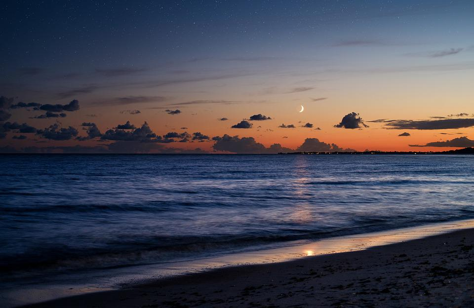 Beach, Sand, Sea, Lake, Water, Dusk, Twilight