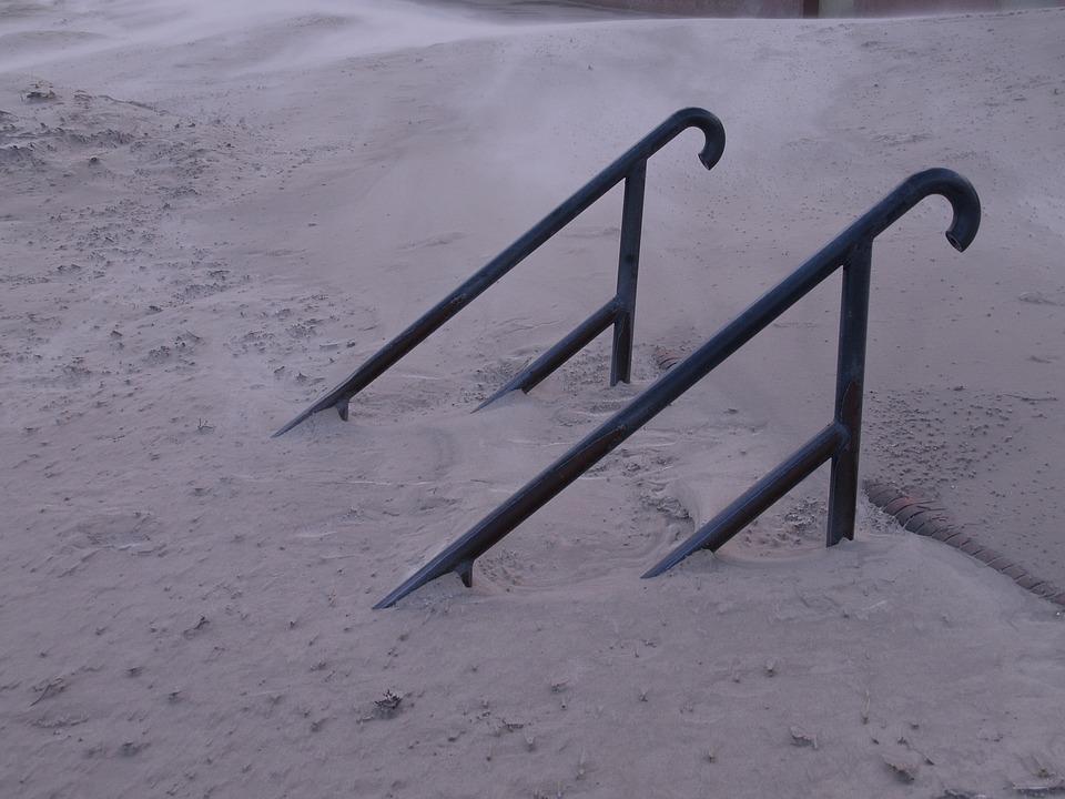 Stairs, Drift, Sand, Wind