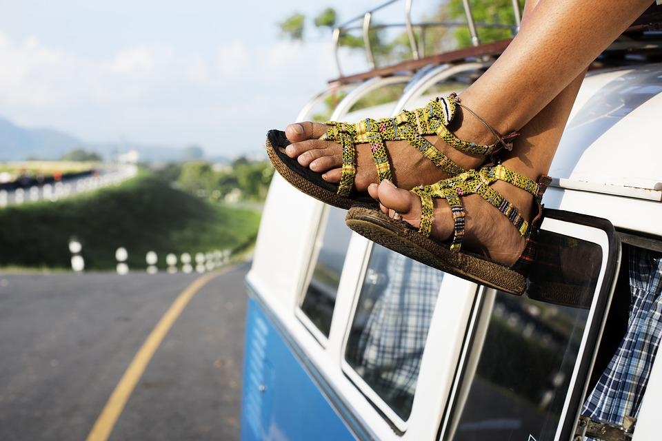 Car, Feet, Outdoors, Pair, Road, Road Trip, Sandals
