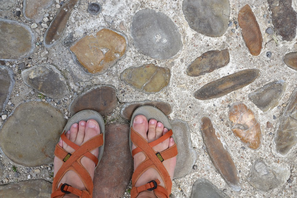 Foot, Sandals, Shoes, Stones
