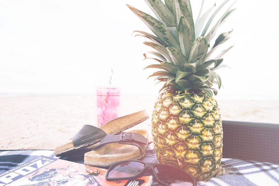 Pineapple, Sandals, Fruit, Sunglasses, Vacation, Summer