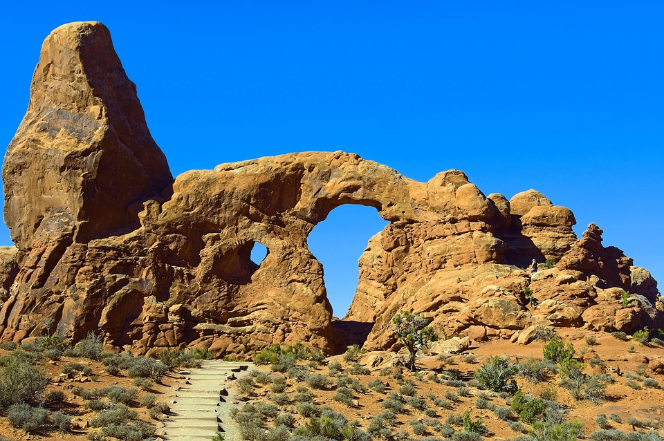 Arches In A Sandstone Fin, Sandstone, Arches, National