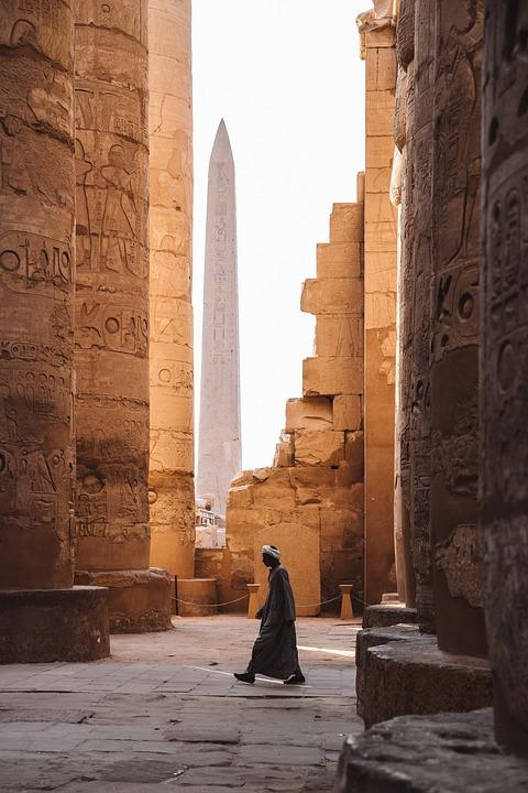 Temple, Building, Walls, Person, Walking, Sandstone