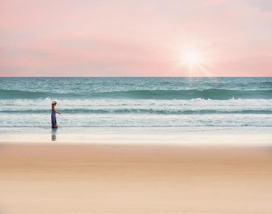 Girl, Walking, Beach, Sand, Sandy Beach, Shore