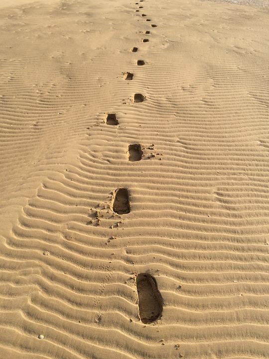 Sandy, Footprints, Sand