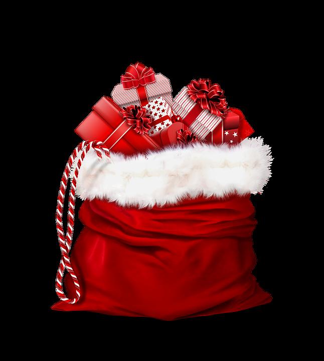 Santa Claus, Gifts, Red, Bag, Christmas Present
