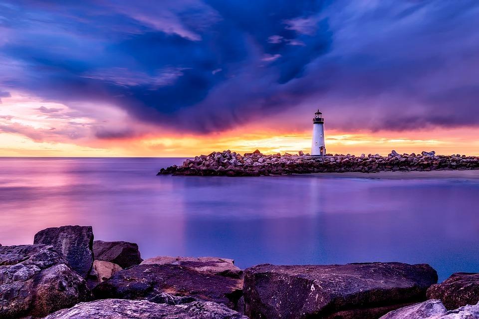 Santa Cruz, California, Light, Lighthouse, Sea, Ocean
