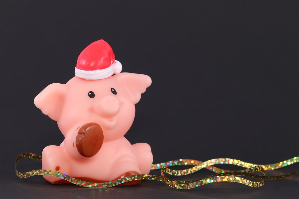 Christmas Pig, Santa Hat, Pig, Cap, Christmas