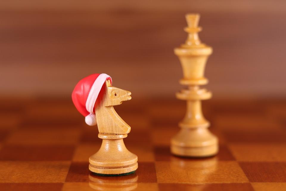 Horse, Santa Hat, Chess, Figure, Chess Board