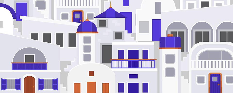 Background, Santorini, Greece, Stylized, Buildings