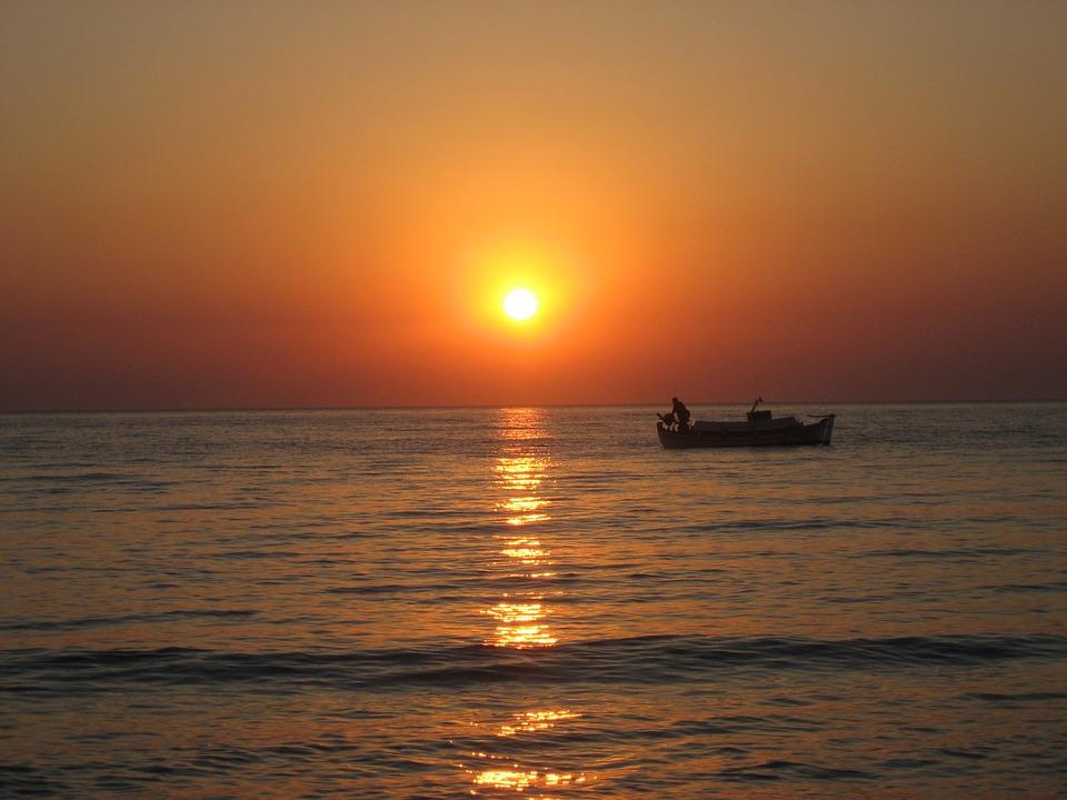 Sunrise, Santorini, Sea, Fischer, Island, Romantic