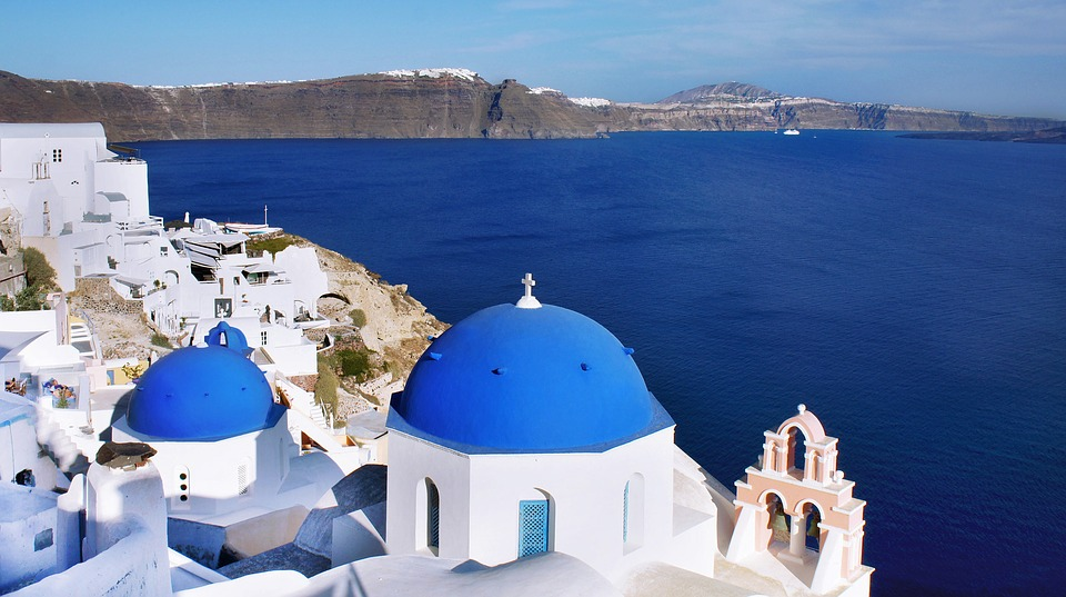 Santorini, Greece, Blue, Dome, Oia, Fira, Vacations
