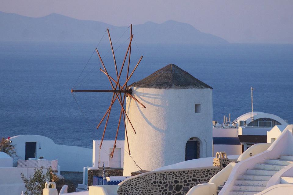 Greece, Windmill, Santorini, Greek, Mediterranean