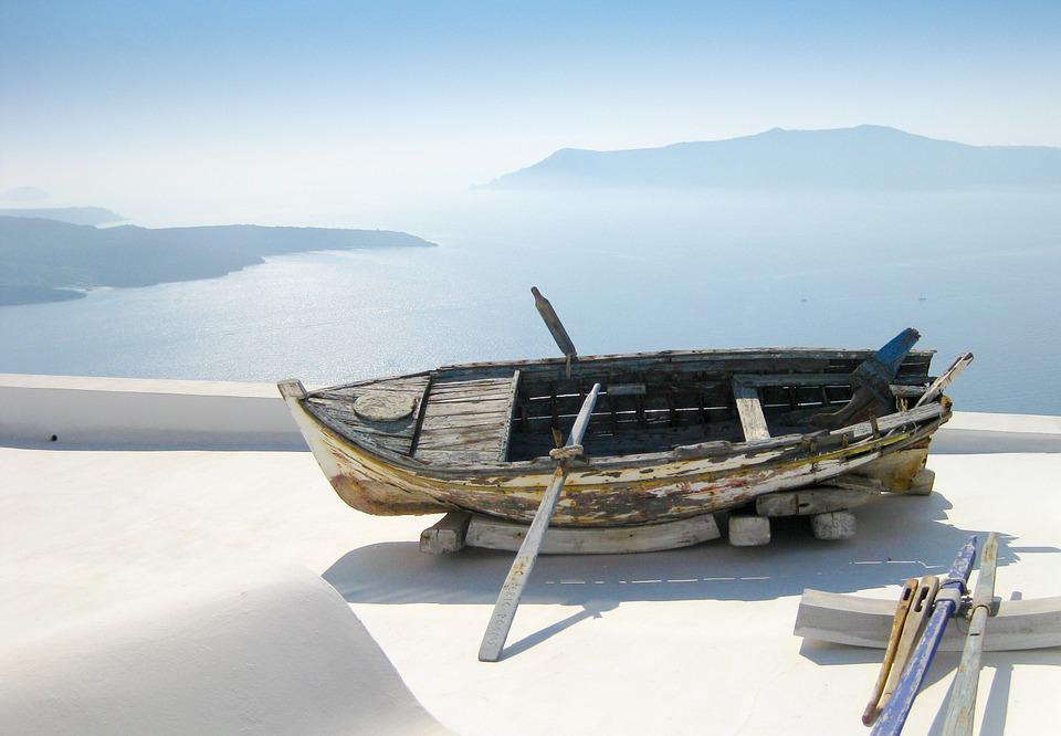 Sea View, Boot, Greece, Santorini, South, Sun, Summer