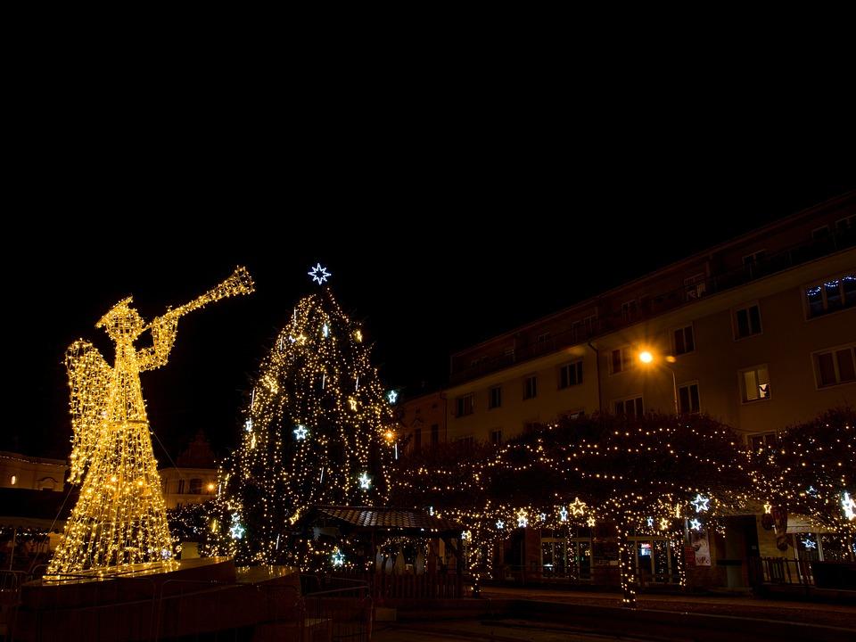 angel christmas sapling tree garnished with