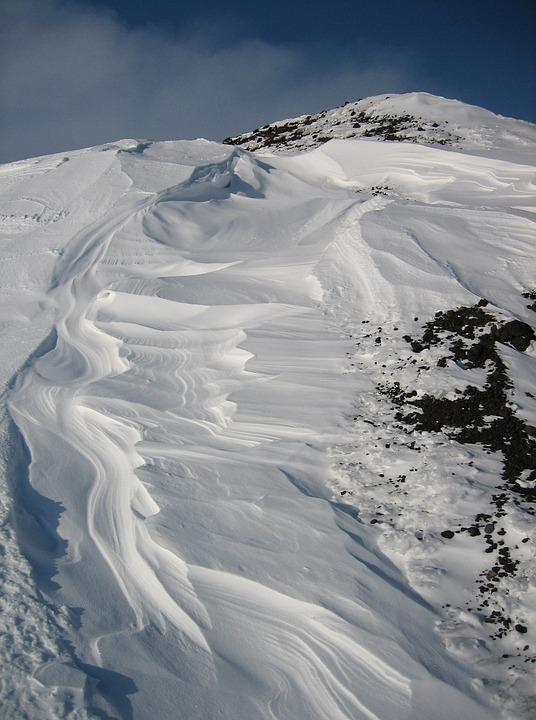 Mountains, Volcano, Snow, Silt, Sastrugi, Wind