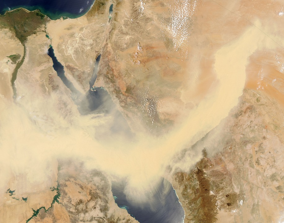 Red Sea, Egypt, Sandstorm, Satellite Image