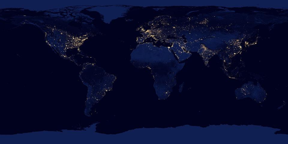 World, Map, Satellite Image, Continents, Satellite Map