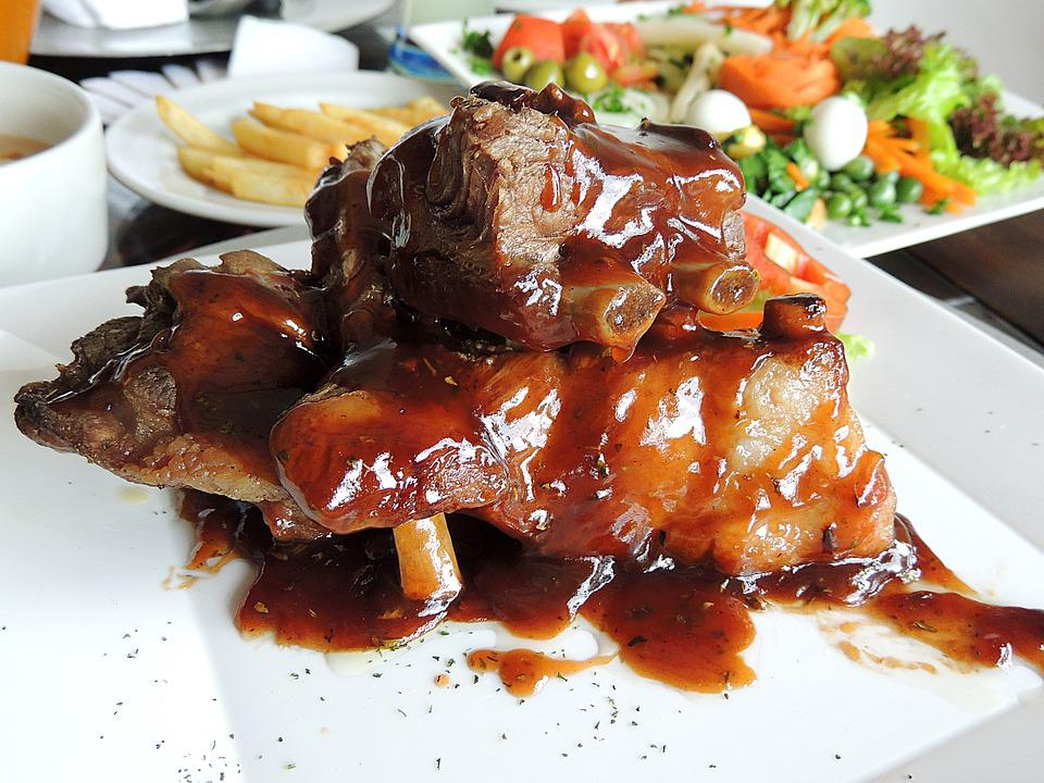 Bbq Ribs, Ribs, Meat, Sauce, Table, Wood, French Fries