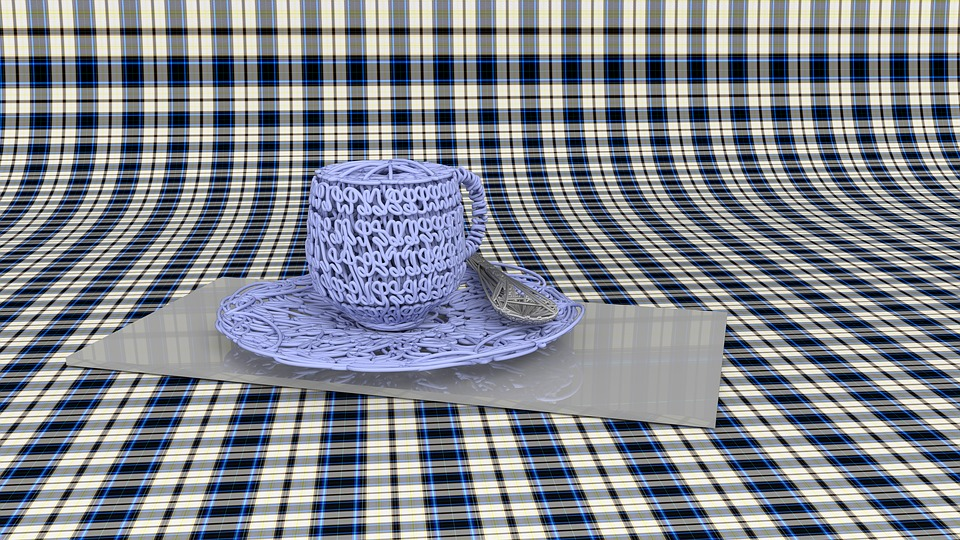 Cup, Spoon, Coffee Cup, Saucer, 3d Model, Pattern