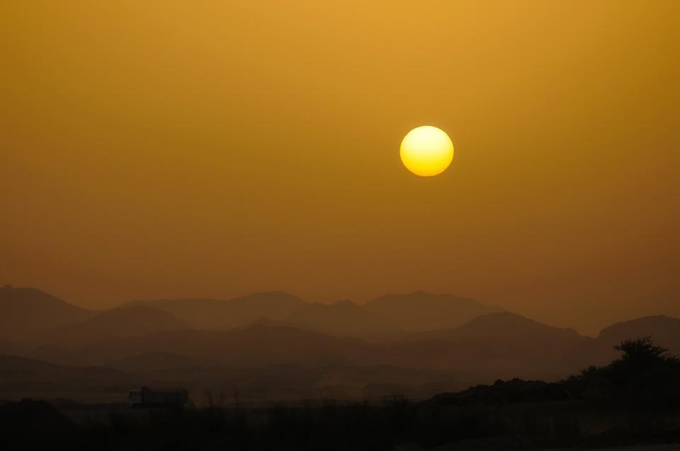 Jeddah, Saudi Arabia, Dawn, Mountains, Nature