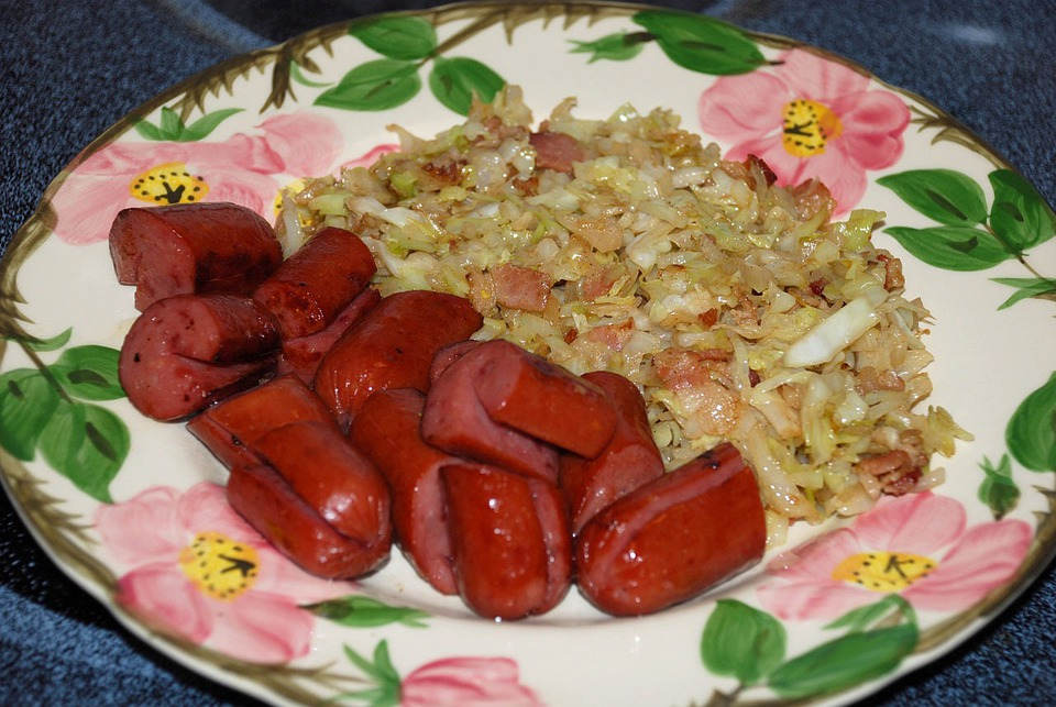 Food, Fast, Quick, Meals, Cabbage, Sausage, Plate, Meat