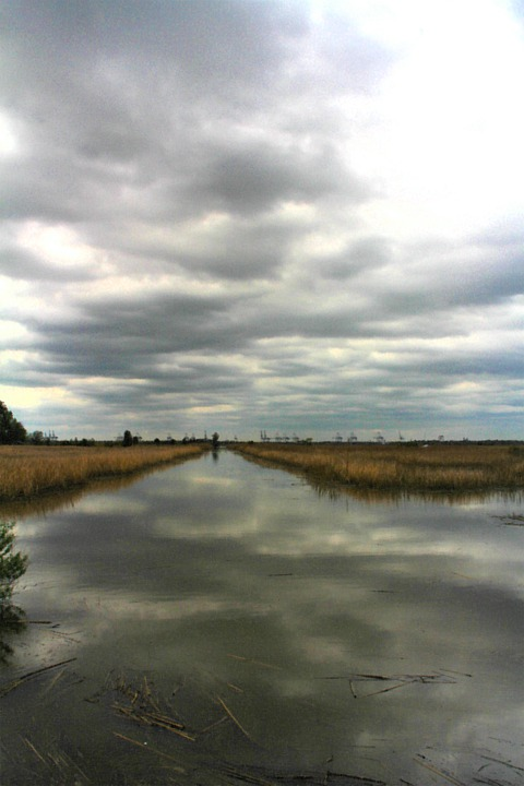 Water Color, Sky, Canal, Savannah, Water, Clouds, Hdr