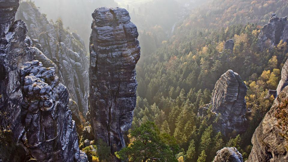 Saxon Switzerland, Rock, Pinnacle, Hell Dog