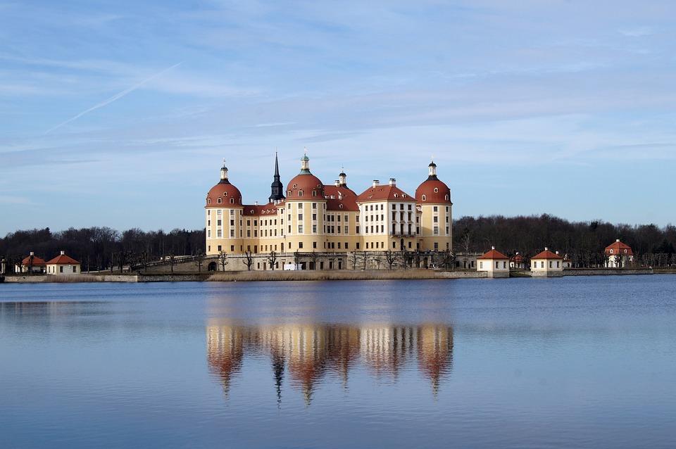 Moritz Castle, Water, Saxony, Mirroring, Germany