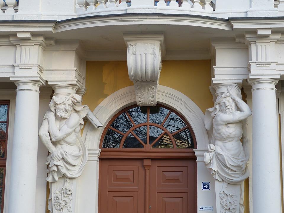 Magdeburg, Saxony-anhalt, Facade, Sculpture, Atlas