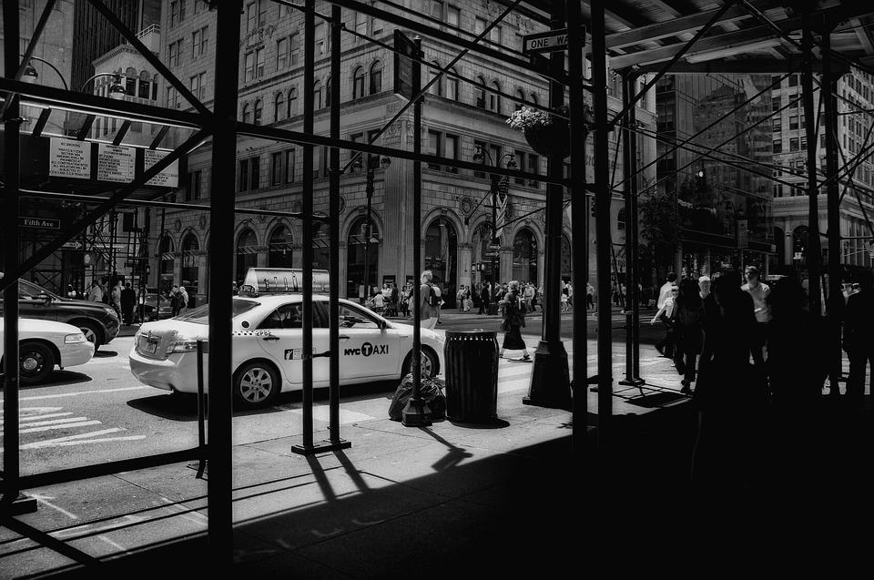 New York, Manhattan, Taxi, Scaffold, Building, City