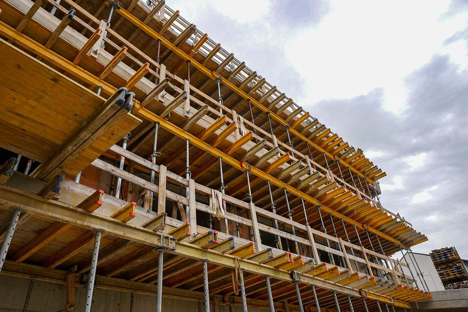 Site, Scaffold, Housebuilding, Build, Construction Work