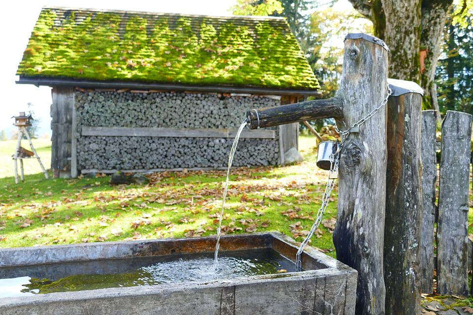 Fountain, Wood, Stock, Hut, Scale, Log Cabin, Water
