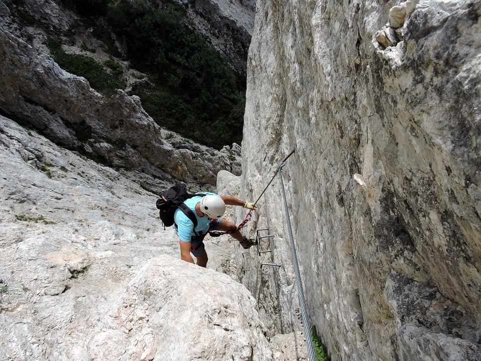 Scale, Rock, Climber, Helmet, Mountain, Ferrata