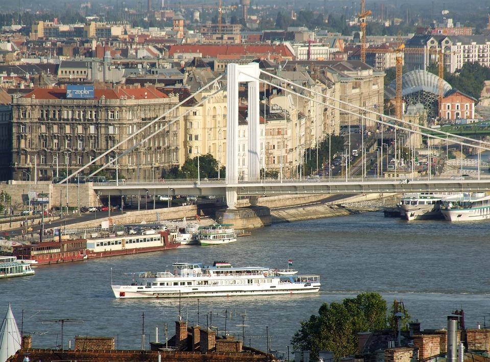 Elizabeth Bridge, Modern, Scape, Panorama, Danube